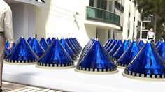 V3Solar embodied an unusual solar panel design in its photovoltaic Spin Cell cones. The current prototype has recently been verified as capable of generating over 20 times more electricity than a static flat panel.