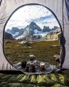 Best view to watch in the morning from your tent 🏔️ you love waking up to this? Grab your survival tool now for Free ! ⚠️ check link in bio ! Bushcraft Camping, Camping And Hiking, Camping Survival, Camping Life, Outdoor Survival, Survival Life, Backpacking, Camping Sauvage, Camping Aesthetic