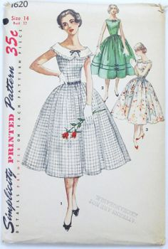 loving the simple style of the green dress with trim, view 2 (Simplicity 1620, 1956)