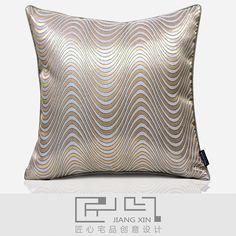 匠心宅品现代北欧样板房/软装靠包抱枕玫瑰金波纹提花方枕{不含芯