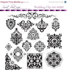 CIJ SALE 40 Frames Border Clipart Damask BLACK by MSweetboutique, $3.59