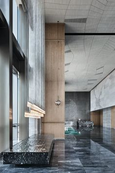 Office Entrance, Office Lobby, Sales Office, Lobby Bar, Hotel Lobby, Lobby Interior, Interior Design, Deep Couch, Glass Curtain Wall