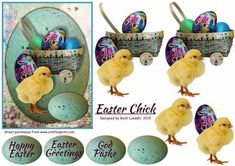 Easter Chick on Craftsuprint designed by Bodil Lundahl - Egg shaped card topper for a joyful easter card i good colours. Two sentiment tags in English and one in Danish plus one tag for your own sentiment included. - Now available for download!