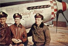 Pilots from the FS, FG next to Baby Mine, a song title from Disneys Dumbo Fighter Pilot, Fighter Aircraft, Military History, Military Life, Leather Flight Jacket, Airforce Wife, Old Planes, Airplane Pilot, Baby Mine