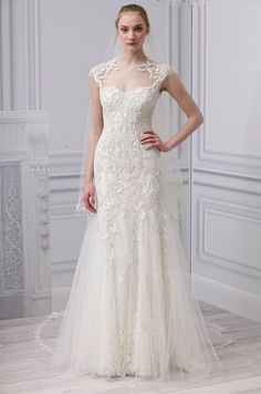 A #wedding dress with illusion neckline from Monique Lhuillier, Spring 2013