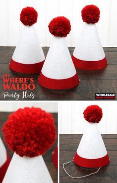 ab1e415bfe9 DIY Wheres Waldo Party Hat Wheres Wally
