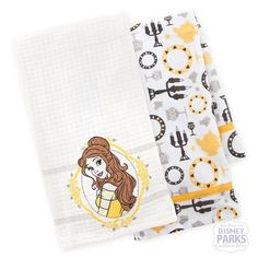 $17 MUST HAVE ....Disney Parks Belle Beauty and the Beast Kitchen Dish Towel Set of 2 Towels