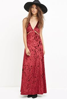 Forever 21 Crushed Velvet Maxi Dress in Red available for $27.90
