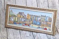 Название: Harbour Town (Tenby) Размер вышивки: 56х21 см. Размер с рамой: 65х30,5 см. Схема: Michael Powell Art Канва: Аида 14 Нитки: Anchor