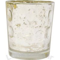 Silver Mercury Glass Votive Wholesale (circle motif).  2.5 inch diameter x 3 inches high. Antiqued vintage metallic finish - the reflective and shimmery surface enhances the candle's light. A perfect accent for special occasions! For use with tealight or votive candles.
