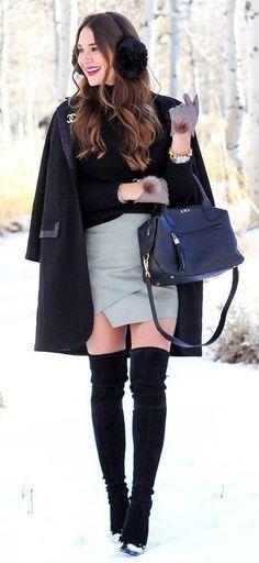 #winter #fashion /  Black Coat + Black Turtleneck