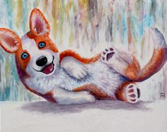 Painting «Phoenix the blue-eyed corgi» by Nadine Reifenberger, Acrylic on canvas board, 50 x 40 cm, 2015, grenadine.de.to