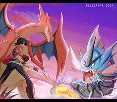 Commission for Ash and Misty in a Pokemon battle, Yu-Gi-Oh style. COMMISSION: Card Battle At Sunrise! Pokemon Show, Pokemon Dolls, Mega Pokemon, Pokemon Fan Art, Cool Pokemon, Pokemon Stuff, Pokemon Team, Charmander Charmeleon Charizard, Mega Charizard