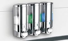 HotelSpa® Ultra Luxury Soap/Shampoo/Lotion Shower Dispenser / Modular-Design / Great Way To Eliminate Shower Clutter / Dispense Soaps and Lotions with a push of a button pack) Shampoo Dispenser, Soap Dispensers, Luxury Soap, Designer Pumps, Liquid Soap, Diy Storage, Storage Ideas, New Tricks, Chrome Finish