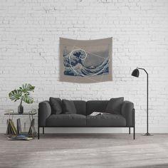 Hokusai Meets Fibonacci Wall Tapestry Tapestries, Wall Tapestry, Tapestry, Upholstery, Wall Rugs