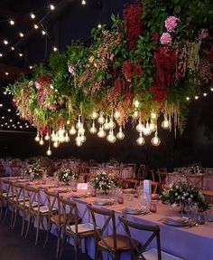 Awesome floral chandelier and festoon lights,wedding decoration ideas,festoon lights wedding decor,floral and greenery chandelier for wedding