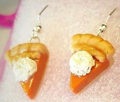 Pumpkin Pie Earrings, Pie Slices, polymer clay, handmade, mini food, orange, NEW