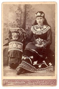 This is one of the better identified Mohawk images in this group. Her name was Mrs. Marquis and her daughter Kwanentawi. They were from the Kahnawake Reserve near Montreal. Circa 1890.