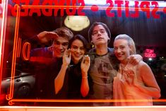 Behind the scenes with KJ Apa as Archie, Camila Mendes as Veronica, Cole Sprouse as Jughead, and Lili Reinhart as Betty
