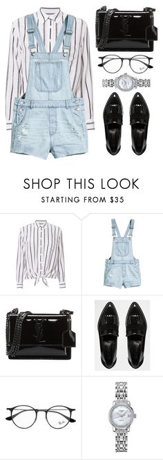 """""""Airport Style"""" by the-messiah ❤ liked on Polyvore featuring Equipment, Yves Saint Laurent, River Island, Ray-Ban and Longines"""