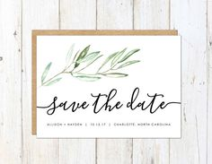 Rustic Save the Date Olive Branch Save the by AlexaNelsonPrints