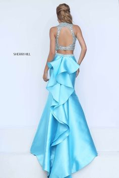 Sherri HIll 2-piece prom dress with keyhole and ruffled back - Prom Dresses at Hope's Bridal