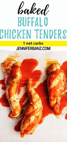 Baked Buffalo Chicken Tenders- Easy low carb and keto boneless chicken tenders covered in buffalo sauce. Simple spices give them lots of flavor and no breadcrumbs are used which makes them super net carb Informations About Baked Buffalo Chicken Tenders Buffalo Chicken Strips, Buffalo Chicken Tenders, Baked Chicken Strips, Chicken Strip Recipes, Easy Chicken Dinner Recipes, Chicken Tender Recipes, Chicken Tenderloin Recipes Healthy, Baked Chicken Tenderloins, Baked Chicken Tenders Healthy