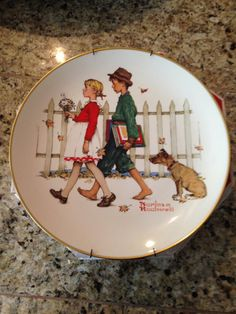 Gorham Plate Norman Rockwell Seasons Fall A Scholarly Pace Childhood Sweethearts on Etsy, $25.00