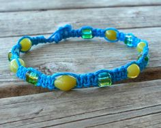 Hemp Anklet Blue and Green Bohemian Jewelry Glass and by 70x7song, $10.00