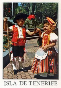 Children in the traditional costume of the Canary Islands, Spain