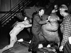 Walt Disney inspects the new animatronics for the JUNGLE CRUISE