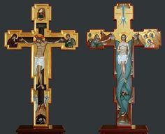 - Cruce pentru Sfantul Altar - fata - verso Byzantine Icons, Byzantine Art, Religious Images, Religious Icons, Roman Church, Jesus On The Cross, Orthodox Icons, Sacred Art, Christian Art