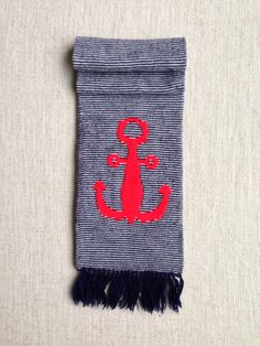 Sailor mini stripe navy wool scarf  by ENGARLAND on Etsy