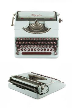 The portable typewriter Olympia Plana was produced in 1950 by Olympia in Germany. Production period of the Plana was from 1939 to 1950. The model is famous for its ultraslim and sleek design. It has though extra functions like the tabulator keys, which are usually only found on larger machines.  The beautiful contrasty coloration of the glossy light blue paint and the burgundy red keys and knobs is extremely rare and was only produced for a very short period of time. It is also one of the…
