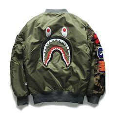 Image of Bape Shark Man Bomber Jacket Urban Fashion, High Fashion, Mens Fashion, Streetwear, Bape Outfits, Bape Shark, Shark Man, Bomber Jacket Men, Bape Jacket