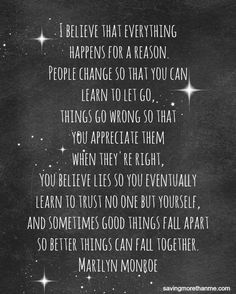 """marilyn monroe quote """"things happen for a reason"""" free printable"""