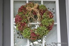 Hydrangea Wreath (Also included are instructions on refreshing your old wreath with some spray paint.)
