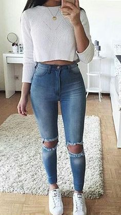 high waist jeans white crop long sleeve - accesories high waist jeans white crop long sleeve teen fashion that looks really trendy . Teenage Outfits, Teen Fashion Outfits, Mode Outfits, Outfits For Teens, Fashion Clothes, Travel Outfits, Jeans Fashion, Party Outfits, Fashion Mode