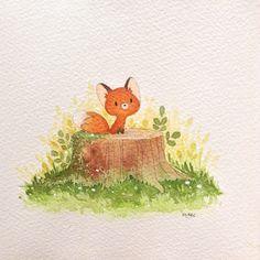 Little fox! Fox Illustration, Watercolor Illustration, Fox Drawing, Painting & Drawing, Watercolor Fox, Art Folder, Fox Art, Animal Sketches, Cute Art