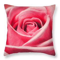 Macro Rose Throw Pillow by Sebastien Coell