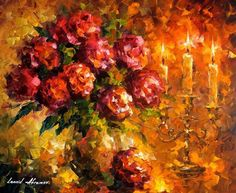 """""""Roses And Candles"""" by Leonid Afremov"""