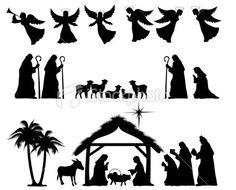 Nativity Silhouette Full Scene for Papercraft/Window/Template /Stencil /Mural.