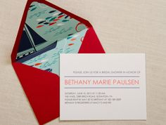 Nautical Invitations - love the envelope liner!