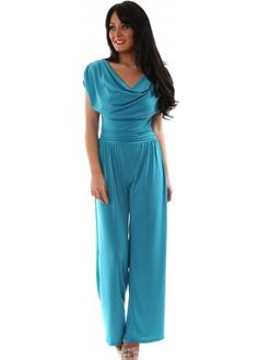 Red & Royal Turquoise Jersey Drape Neckline Wide Leg Jumpsuit