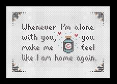 Whenever I'm alone with you...you make me feel like I am home again. Lovesong  The Cure PDF cross stitch pattern by RobotSoon on Etsy
