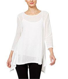 c4544e187f029 Alfani Petite Draped-Knit High-Low Top Women s Clothing