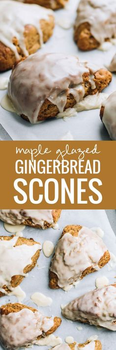 Maple Glazed Gingerbread Scones - the most cozy winter breakfast treat, especially perfect with a mug of hot coffee! Scone Recipes, Maple Dessert Recipes, Breakfast Bread Recipes, Apple Recipes, Brunch Recipes, Recipes Dinner, Baking Recipes, Mexican Food Recipes, Sausage Recipes