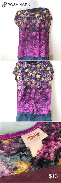 Mossimo Purple/ Ombré Colored Floral design Top Mossimo Purple/ Ombré Colored Floral design Top NWOT Size L Button ups in Back.  Fabric: 58% Cotton 33% Nylon 8% Rayon 1% Spandex No snags, rips or dirty, SMOKE FREE HOME Mossimo Supply Co. Tops