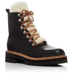 Sigerson Morrison Isa Shearling Booties (3,445 CNY) ❤ liked on Polyvore featuring shoes, boots, ankle booties, black, hiking boots, black shearling boots, cold weather boots, black hiking boots and sheep fur boots