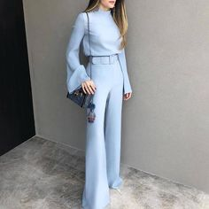 Fashion Autumn Deep V-Neck Print Jumpsuit Fashion Pure Colour Half High Collar Blue Suit Blue xl Costumes Bleus, Suits And Sneakers, Casual Jumpsuit, Casual Pants, Jumpsuit Style, Summer Jumpsuit, White Jumpsuit, Mode Hijab, Maxi Dress With Sleeves